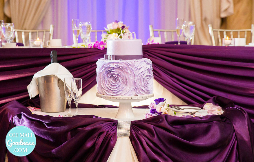 Purple ruffly wedding cake: Toronto custom cake, Toronto wedding cake