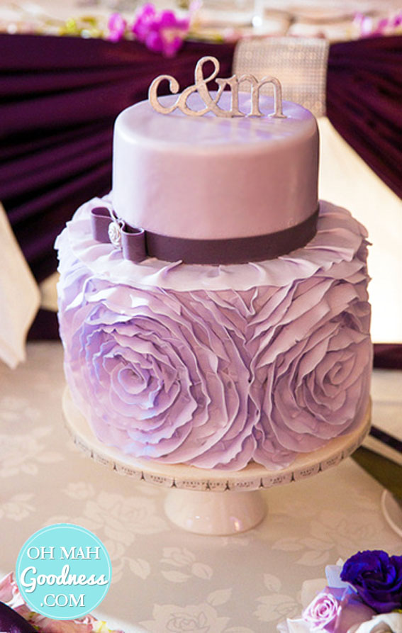 Purple ruffly wedding cake: Toronto custom cake, Toronto wedding cake