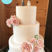 Vineyard wedding cake with roses: Toronto custom cake, Toronto wedding cake