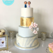 Marble blue and gold wedding cake: Toronto custom cake, Toronto wedding cake