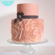 Pink ruffles wedding cake: Toronto custom cake, Toronto wedding cake