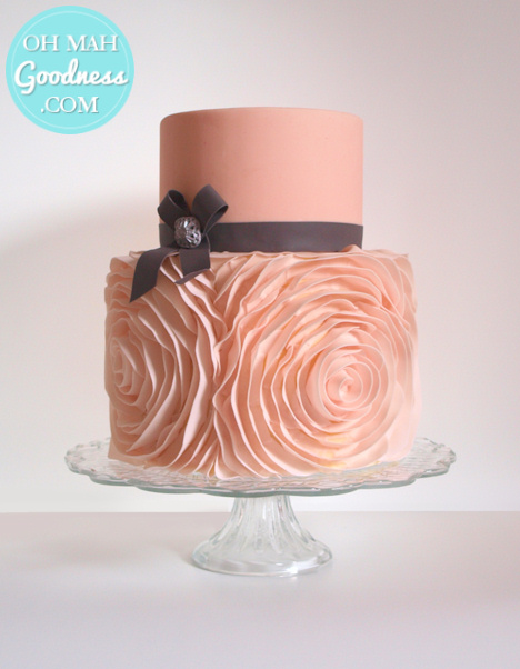 Pink ruffles wedding cake: Toronto custom cake, Toronto wedding cake