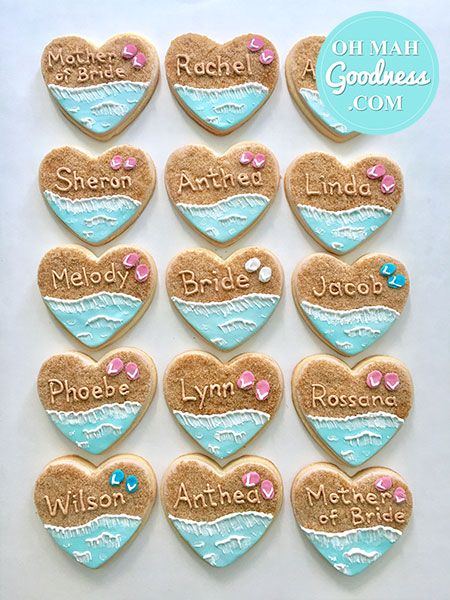 Beach themed engagement cookies: Toronto custom cookies, Toronto custom cakes