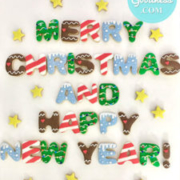 Christmas lettering cookies: Toronto custom cookies, Toronto custom cakes