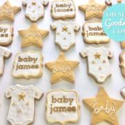 Gold star onesies cookies: Toronto custom cookies, Toronto custom cakes