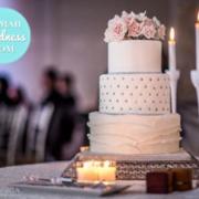 Silver rhinestone wedding cake: Toronto custom cake, Toronto wedding cake