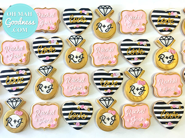 Striped heart engagement cookies: Toronto custom cookies, Toronto custom cakes