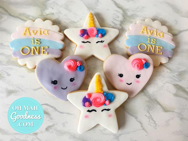 Unicorn star cookies: Toronto custom cookies, Toronto custom cakes